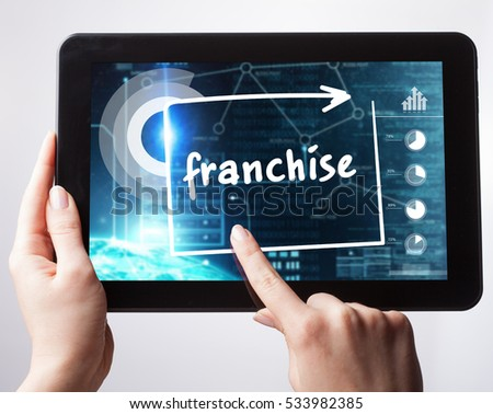 Business, Technology, Internet and network concept. Young businessman, working on the tablet , select on the virtual display: franchise