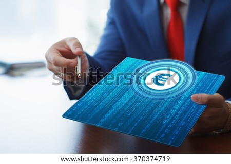 Business, Technology, Internet and network concept. Young businesswoman working on her tablet in the office of the future, select Security on the virtual display.