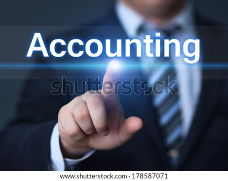business, technology, internet and networking concept - businessman pressing accounting button on virtual screens - stock photo