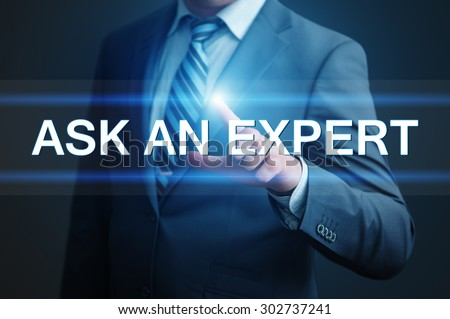 business, technology, internet and networking concept - businessman pressing ask an expert button on virtual screens