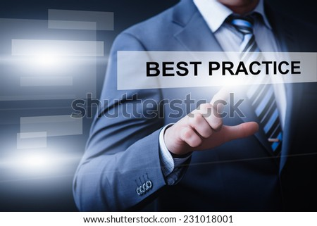 business, technology, internet and networking concept - businessman pressing best practice button on virtual screens - stock photo