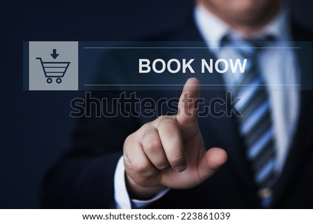 business, technology, internet and networking concept - businessman pressing book now button on virtual screens - stock photo