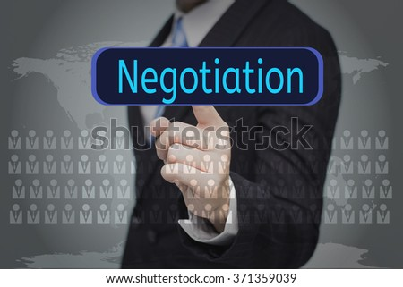 business, technology, internet and networking concept - businessman pressing button on virtual screens,Negotiation button - stock photo