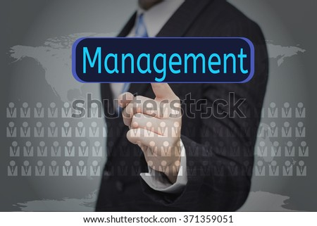business, technology, internet and networking concept - businessman pressing button on virtual screens,Management button - stock photo