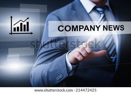 business, technology, internet and networking concept - businessman pressing company news button on virtual screens - stock photo