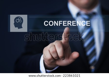 business, technology, internet and networking concept - businessman pressing conference button on virtual screens