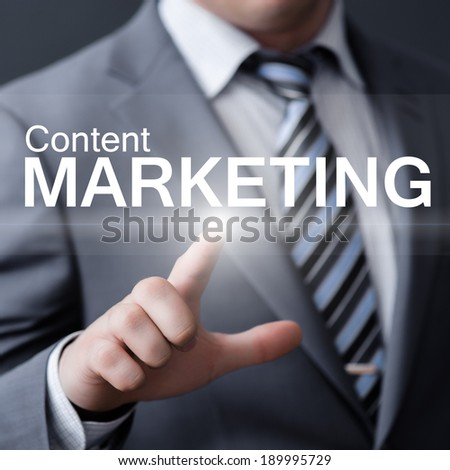 business, technology, internet and networking concept - businessman pressing content marketing button on virtual screens - stock photo