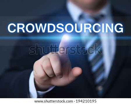 business, technology, internet and networking concept - businessman pressing crowdsourcing button on virtual screens - stock photo