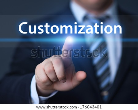 business, technology, internet and networking concept - businessman pressing customization button on virtual screens - stock photo