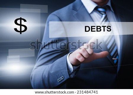 business, technology, internet and networking concept - businessman pressing debts button on virtual screens - stock photo