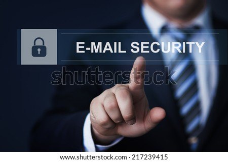 business, technology, internet and networking concept - businessman pressing e-mail security button on virtual screens - stock photo