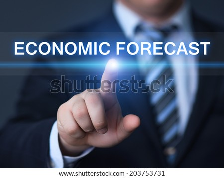 business, technology, internet and networking concept - businessman pressing economic forecast button on virtual screens  - stock photo