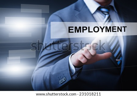 business, technology, internet and networking concept - businessman pressing employment button on virtual screens - stock photo