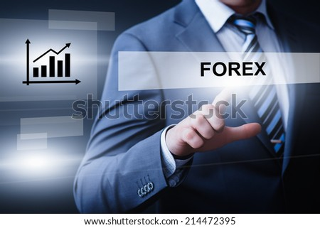 business, technology, internet and networking concept - businessman pressing forex button on virtual screens