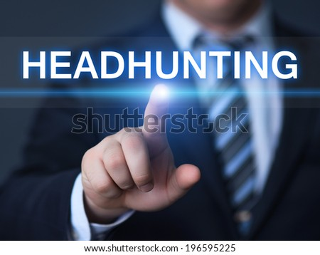 business, technology, internet and networking concept - businessman pressing headhunting button on virtual screens - stock photo