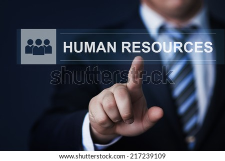 business, technology, internet and networking concept - businessman pressing human resources button on virtual screens - stock photo