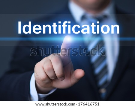 business, technology, internet and networking concept - businessman pressing identification button on virtual screens - stock photo