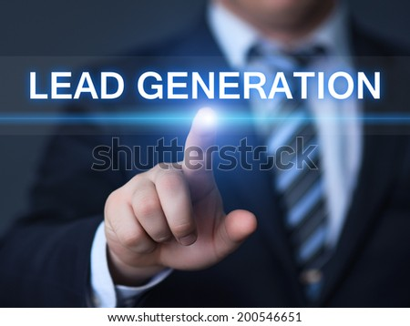 business, technology, internet and networking concept - businessman pressing lead generation button on virtual screens  - stock photo