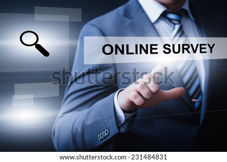 business, technology, internet and networking concept - businessman pressing online survey button on virtual screens - stock photo