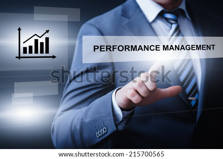 business, technology, internet and networking concept - businessman pressing performance management button on virtual screens - stock photo
