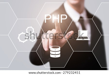 business, technology, internet and networking concept - businessman pressing PHP button on virtual screens - stock photo