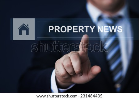 business, technology, internet and networking concept - businessman pressing property news button on virtual screens - stock photo