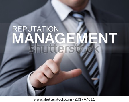 business, technology, internet and networking concept - businessman pressing reputation management button on virtual screens
