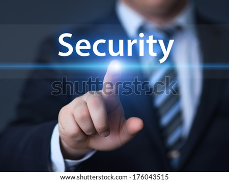 business, technology, internet and networking concept - businessman pressing security button on virtual screens - stock photo
