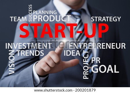 business, technology, internet and networking concept - businessman pressing start-up button on virtual screens  - stock photo