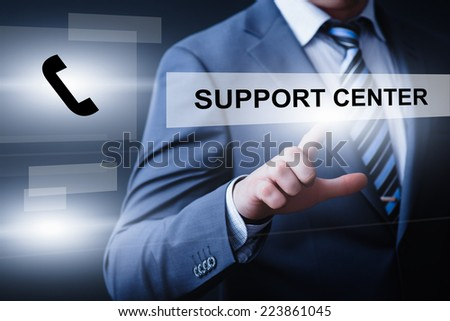 business, technology, internet and networking concept - businessman pressing support center button on virtual screens - stock photo