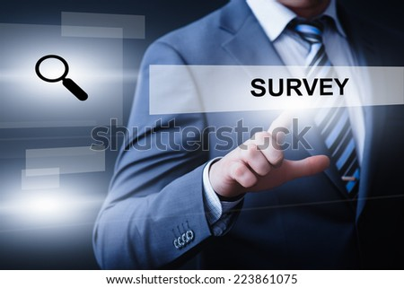 business, technology, internet and networking concept - businessman pressing survey button on virtual screens - stock photo