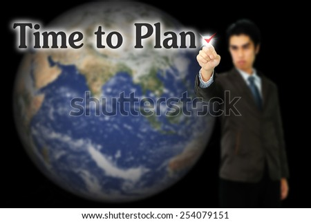 business, technology, internet and networking concept - businessman pressing time to plan button - stock photo