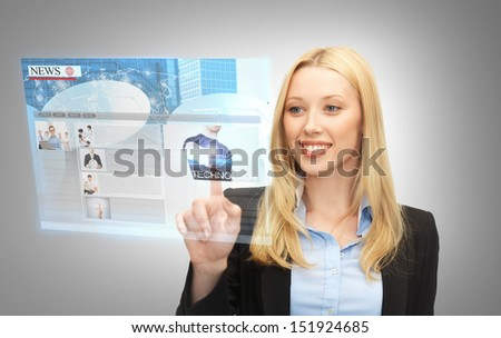 business, technology, internet and networking concept - businesswoman pressing buttons on virtual screen - stock photo