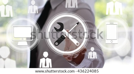 Business, technology, internet and networking concept - businesswoman pressing technical support button on virtual screens. Repair and maintenance business. - stock photo
