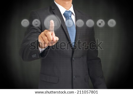 business, technology, internet and networking concept - man hand pressing button with contact on virtual screens - stock photo