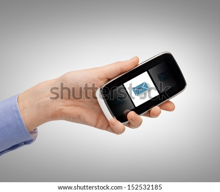 business, technology, internet and networking concept - man hand with smartphone and message icon - stock photo