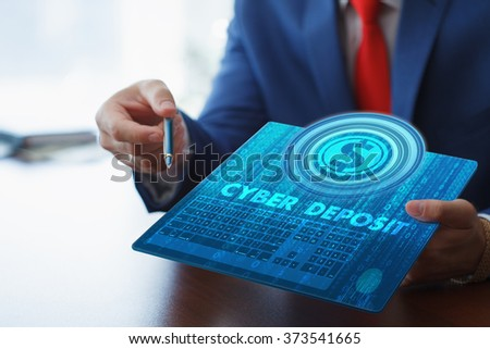 Business, technology, internet and networking concept. Young businessman working on his tablet in the office, select the icon cyber deposit on the virtual display. - stock photo