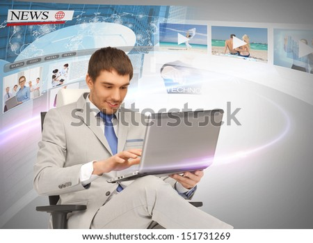 business, technology, internet and news concept - businessman with laptop pc and virtual screens reading news - stock photo