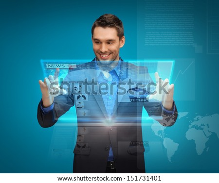 business, technology, internet and news concept - businessman with virtual screen reading news - stock photo