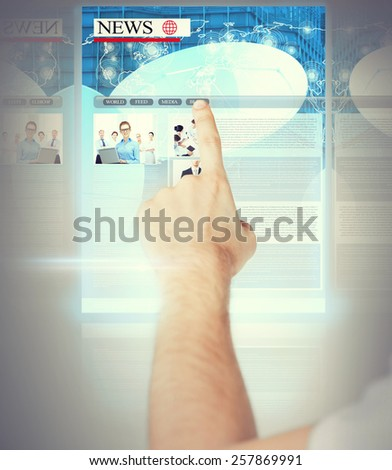 business, technology, internet and news concept - man with virtual screen reading news - stock photo