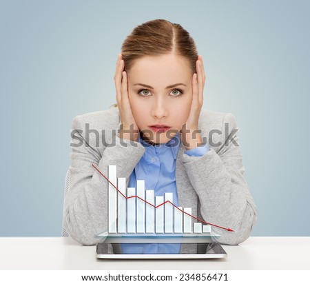 business, technology, internet and office concept - businesswoman with tablet pc computer and forex graph over gray background - stock photo