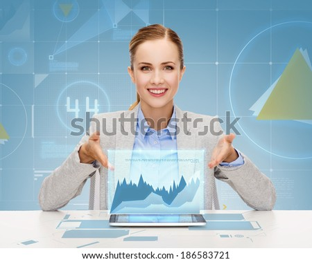business, technology, internet and office concept - smiling businesswoman with tablet pc computer - stock photo