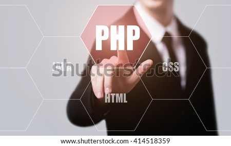 business, technology, internet and programming concept. Businessman pressing php button on virtual screens with hexagons and transparent honeycomb - stock photo