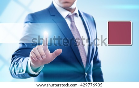 business, technology, internet and virtual reality concept - businessman button on virtual screens. Template for text. - stock photo