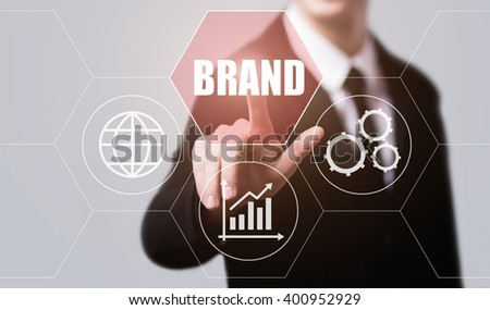 business, technology, internet and virtual reality concept - businessman pressing brand button on virtual screens with hexagons and transparent honeycomb - stock photo