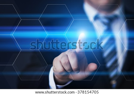 business, technology, internet and virtual reality concept - businessman pressing button on virtual screens with hexagons and transparent honeycomb - stock photo