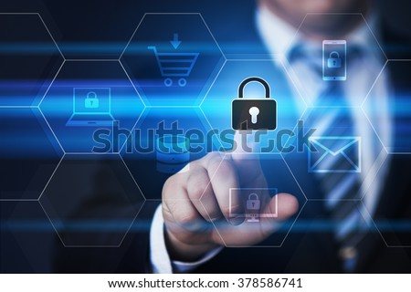 business, technology, internet and virtual reality concept - businessman pressing cyber security button on virtual screens with hexagons and transparent honeycomb - stock photo