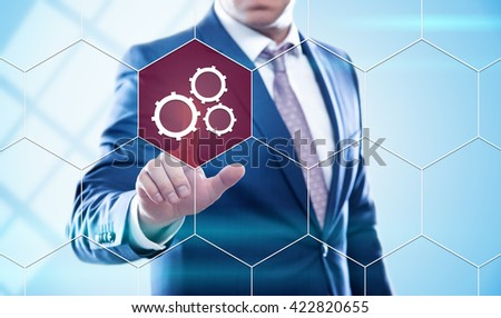 business, technology, internet and virtual reality concept - businessman pressing mechanism button on virtual screens with hexagons and transparent honeycomb - stock photo
