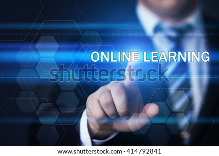 business, technology, internet and virtual reality concept - businessman pressing online learning button on virtual screens with hexagons and transparent honeycomb - stock photo