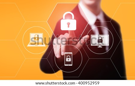 business, technology, internet and virtual reality concept - businessman pressing padlock button on virtual screens with hexagons and transparent honeycomb - stock photo